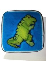 """Fused Art Glass Dinosaur Tile Hot Plate 9"""" - $19.55"""