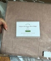 Pottery Barn Set 2 Belgian Linen Sheer Drape Soft Rose 50x96 Pole Curtai... - $178.00