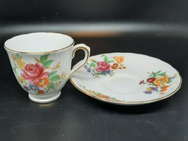 Tuscan demitasse cup & saucer flowers and gilt on white excellent condition - $18.00