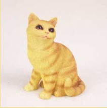 RED TABBY CAT Figurine Statue Hand Painted Resin Gift Dinner Time - $17.25