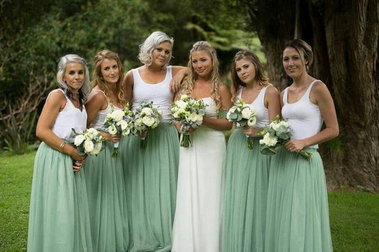 Sage green wedding tulle skirt