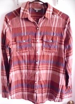 RUBBISH Shirt MEDIUM Plaid Button-Front Cotton Brown Blue Long Sleeve Women - $14.25