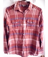 RUBBISH Shirt MEDIUM Plaid Button-Front Cotton Brown Blue Long Sleeve Women - $14.25