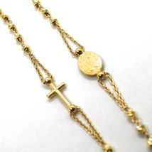 NECKLACE ROSARY YELLOW GOLD 750 18K, MEDAL MIRACULOUS CROSS, SPHERES YOU WORK image 5