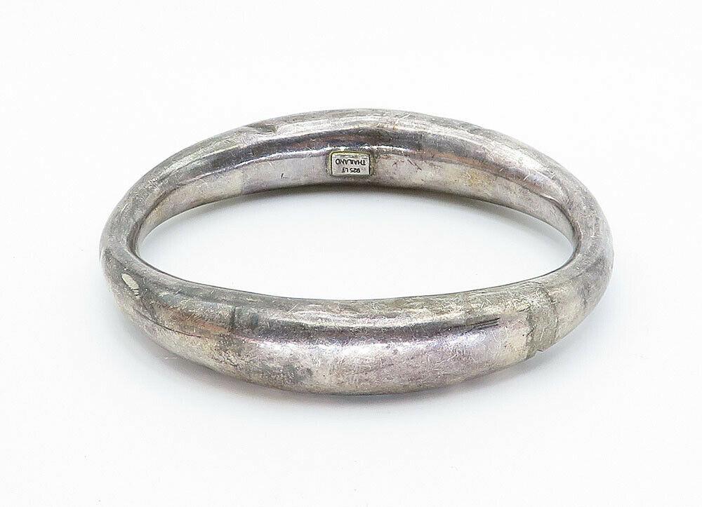925 Sterling Silver - Vintage Hollow Smooth Oval Bangle Bracelet - B5918