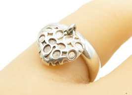 COACH 925 Silver - Vintage Dangling Love Heart Charm Band Ring Sz 6 - R1... - $36.61