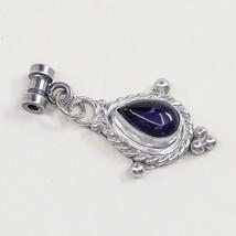 Vtg Sterling silver handmade pendant, 925 silver Charm w/ Teardrop Blue ... - $16.71