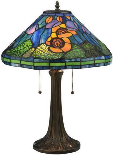 "Meyda Tiffany Vibrant Orange, Blues, Greens Poppy Cone Table Lamp  21.5""H"