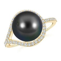 10mm Tahitian Cultured Black Pearl Ring with Diamond Loop Silver/Gold Si... - $572.42+