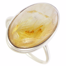 Beautiful Golden Rutile Ring, 925 Silver, Size 8 US or Q - $32.00