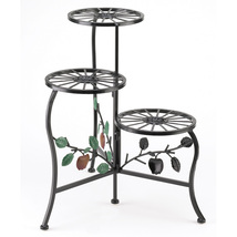 Office Plant Stand, Decorative Wrought Iron 3 Tier Plant Stand - Black - $40.53