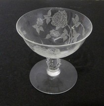 A H Heisey Company Crystal Glass Etched Rose Low Champagne Sherbet Rose ... - $19.68