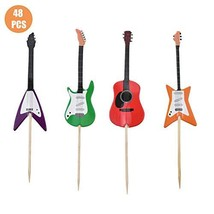 HOKPA Guitar Shape Cupcake Toppers Kid Boy Birthday Decorations Kids' Ga... - $15.99