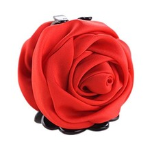 Elegant Satin Artificial Rose Flower Hair Claw Clips Ponytail Jaw Clips, Red