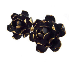 60s RARE Vendome Signed Black Velour Enamel Golden Edged Rose Flower Cli... - $89.00