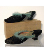 1920s Shoes Art Deco Gaytees Feathers Slippers Wedding Collectible - $68.00