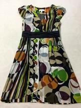 Moulinette Soeurs Anthropologie 6 Brown Green Geometric Chiffon Dress Pockets - $22.99