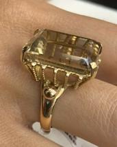 18k Gold Ring Smokey Quartz Stone Size L1/2 - $895.99
