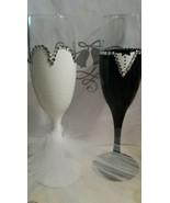Wedding Bride and Groom Flutes Glassware Weddings Glass Barware Wedding Gifts - $18.00