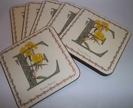 """6 Coasters Pimpernel Alphabet Florals Letter """"E"""" Boxed - $19.80"""
