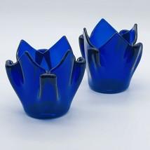 PartyLite Sapphire Candle Holder Cobalt Blue Tea Light Votive Folded Gla... - $15.00