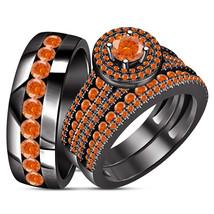 Trio Set Wedding Band & Engagement Ring Orange Sapphire Black Gold Fn.92... - $179.98