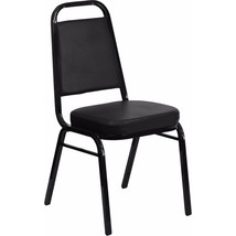 Offex Trapezoidal Back Stacking Banquet Chair in Black Vinyl and Black Frame - $56.69