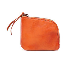 Small Genuine Leather Wallet Mini Zipper Bag F Coins Money Credit Cards ... - $26.90