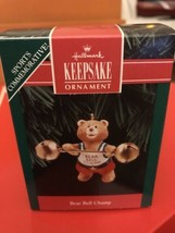 NEW - 1992 Hallmark Keepsake Bear Bell Champ Weight Lifting Christmas Or... - $4.99