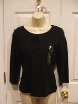 Nwt Org $35 Liz Claiborne Petite 3/4 Sleeve Black Top Size Petite Ps - $21.77