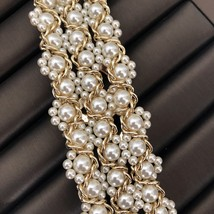 NEW Authentic CHANEL 2019 Multi Strand Crystal CC Gold Chain Pearl Bracelet  image 5