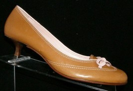 Cole Haan brown leather round toe bow slip on stacked kitten heels 8.5B ... - $33.30