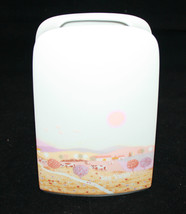 Thomas Germany White Porcelain Flower Vase Sun Valley Farm Colorful Olmi... - $44.88