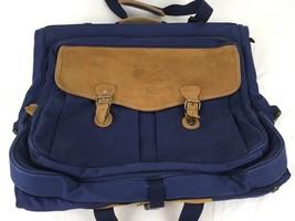 Eddie Bauer Blue Canvas & Suede Garment Bag Vintage Suit Carrier Hanging - $92.17