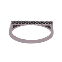 """D"" Shape 1.30 mm Black Spinel 925 Sterling Silver Women Stacking Band Ring - $13.42"