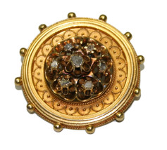 Etruscan Revival 15k Yellow Gold & Diamond Brooch - $1,695.00