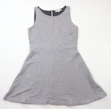 Ann Taylor Loft Ribbed Gray Skater Dress Soft Sleeveless A-Line Career S... - $19.24
