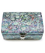 Jewelry Trinket Box Wood Mother of Pearl Sea Shell Inlaid Mirror Lid Pin... - $102.28