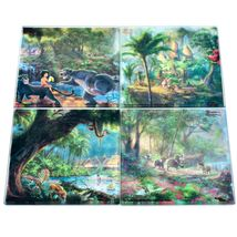 Thomas Kinkade The Jungle Book Prints 4 Piece Fused Glass Coaster Set w Holder image 6