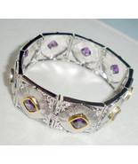 Amethyst Purple CZ Crystal 9-Link Bracelet by Lenox New - $84.90
