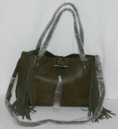 Simply Noelle Brand HB209 Sage Green Color Womens Fringed Toggle Loop Purse