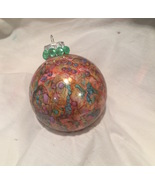 Hand Painted Christmas Ornament Alcohol Ink Pink Yellow Purple Blue Rhin... - $9.99