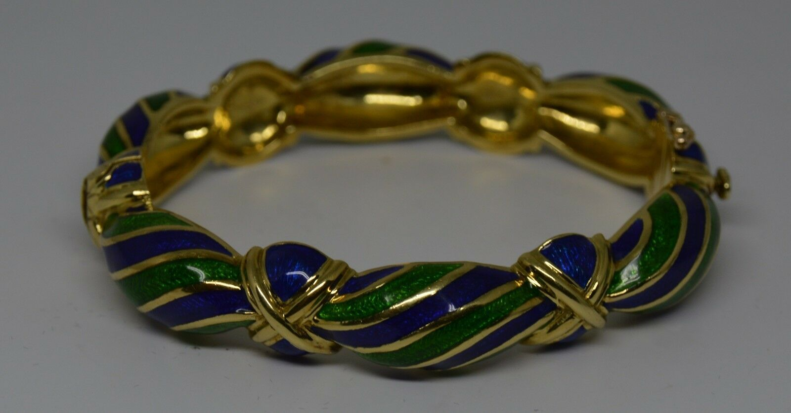 Vintage Tiffany & Co Blue Green Enamel & 18K yellow Gold Hinged Curved Bangle image 7