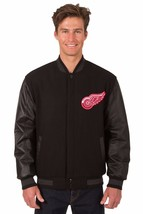 Detroit Red Wings Wool & Leather Reversible Jacket with Embroidered Logos Black - $269.99