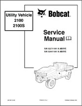 Bobcat 2100 2100S Utility Vehicle UTV Service Manual on a CD - $12.00