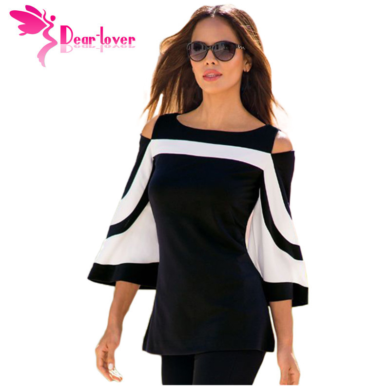 DearLover Women Blouse Black White Colorblock Bell Sleeve Cold Shoulder Top Muje