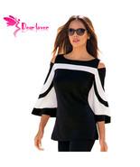 DearLover Women Blouse Black White Colorblock Bell Sleeve Cold Shoulder ... - $37.30