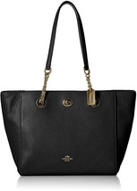 COACH Womens Pebbled Turnlock Chain Tote 27 Li/Black One Size - $175.70
