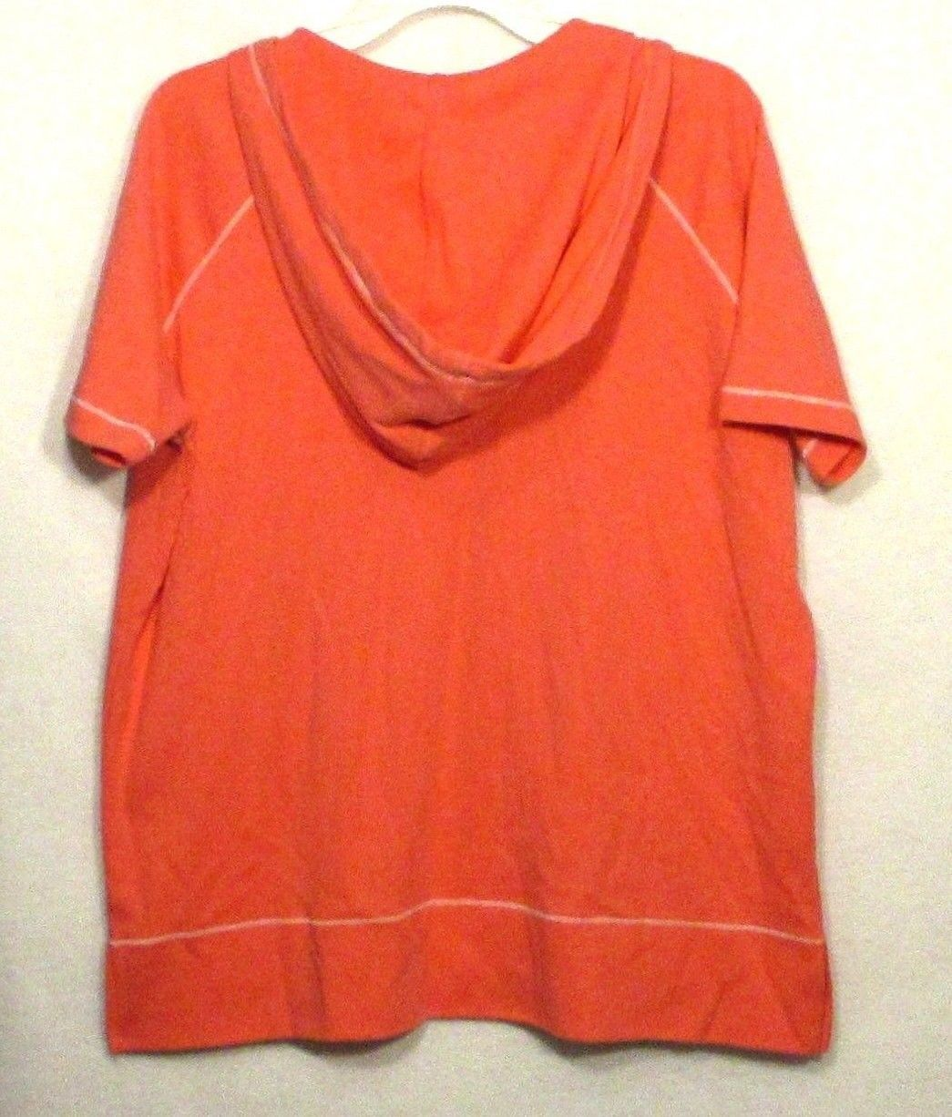 Eddie Bauer XL Shirt Top Coral Pink Short Sleeve Hooded Cotton Womens Women B3