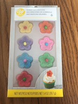 Wilton Gummy Flowers Decorations 8 Count|Red, Blue, Yellow, Orange, Pink... - $12.69